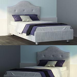 法式皮革童床模型3d模型