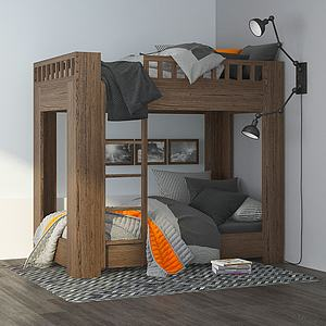 现代木质上下铺儿童床模型3d模型