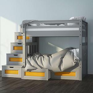 3d现代楼梯式双层儿童床模型