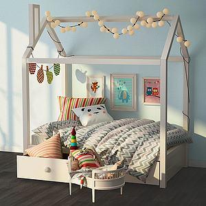 现代温馨条纹被子儿童床模型3d模型