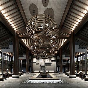 新中式酒店大堂模型