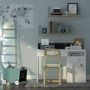 现代清新式儿童书桌模型