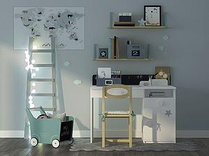 现代清新式儿童书桌3d模型