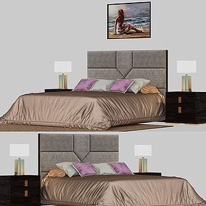 现代简约双人床模型3d模型