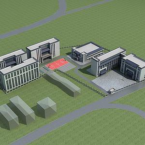 学校教育基地规划3d模型