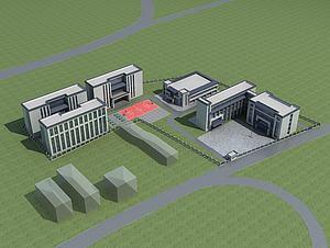 學校教育基地規劃模型3d模型