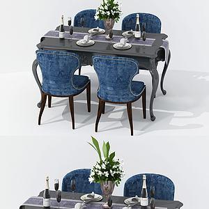 欧式方形餐桌椅组合模型