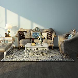欧式沙发茶几台灯组合模型