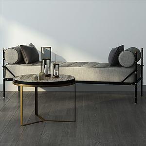 无靠背沙发躺椅小茶几模型