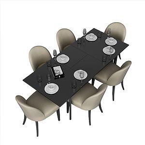 现代方形餐桌椅组合模型