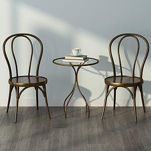 现代铁制休闲椅子茶几组合模型3d模型