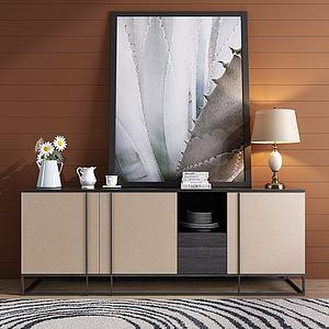现代轻奢地柜餐边柜模型