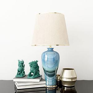 新中式台灯摆件模型
