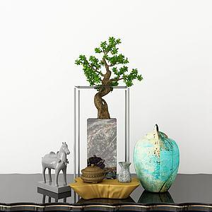绿植摆件组合模型3d模型