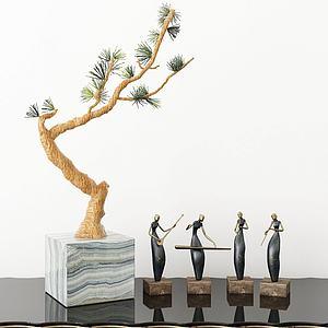 盆栽摆件组合模型3d模型