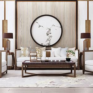 新中式沙发茶几单椅模型