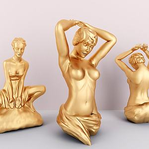 金属女性人物雕塑3d模型