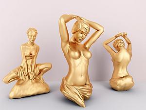 金属女性人物雕塑模型3d模型