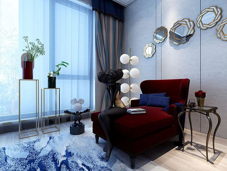 现代贵妃椅单人沙发模型