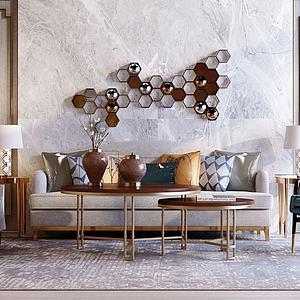 沙发单椅茶几组合模型