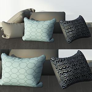 现代花纹靠枕组合模型3d模型