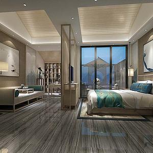 现代简约卧室模型3d模型