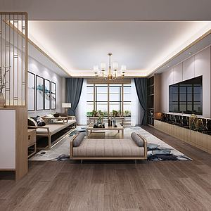 新中式客厅餐厅模型3d模型
