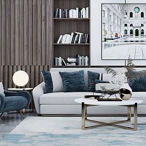 现代沙发茶几单椅圆几模型