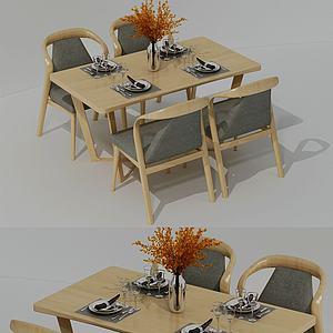 北欧棉麻四人组餐桌模型