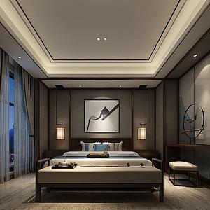 新中式卧室双人房模型3d模型