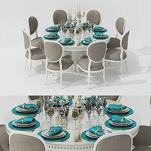 欧式圆板餐桌椅组合模型3d模型