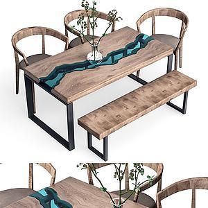 新中式餐桌椅组合模型
