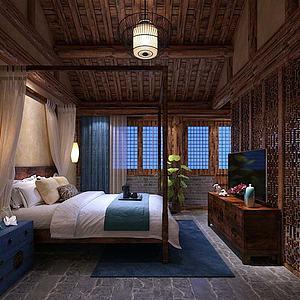 中式卧室模型3d模型