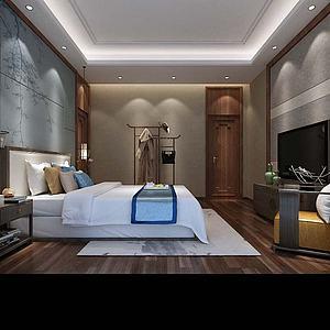 新中式卧室模型3d模型