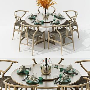 新中式纯木餐桌椅组合3d模型