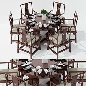 新中式简约餐桌椅组合3d模型