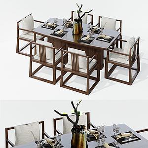 新中式六人餐桌椅组合3d模型