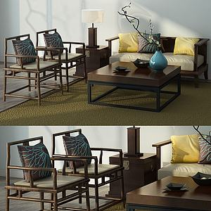 新中式沙发椅子组合模型3d模型