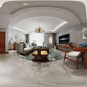 中式客厅餐厅3d模型
