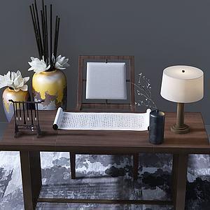 新中式书桌3d模型