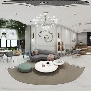 别墅客厅餐厅模型