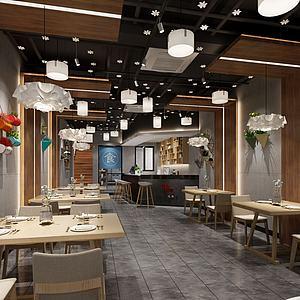 工业风烧烤店餐厅模型