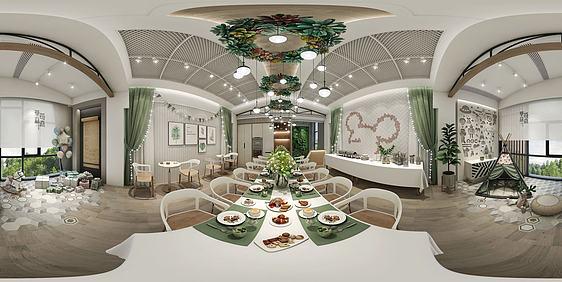 3d休闲餐厅全景模型