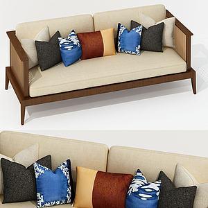 新中式?#23478;?#22810;人沙发3d模型