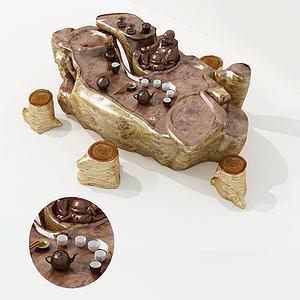 新中式玉质茶桌椅茶具3d模型