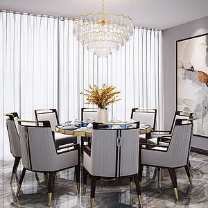 新中式餐厅桌椅吊灯模型3d模型