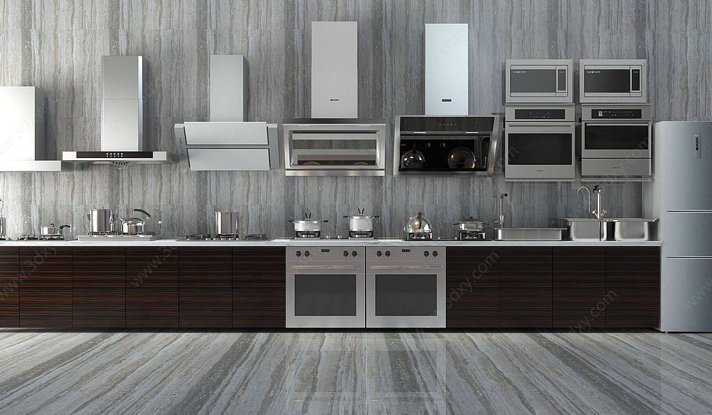 现代厨房灶具橱柜冰箱