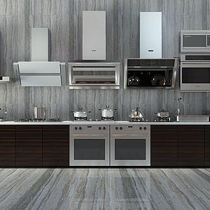 现代厨房灶具橱柜冰箱模型