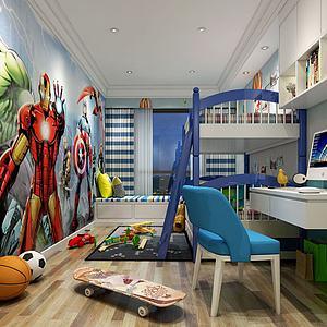 现代简约儿童房模型3d模型