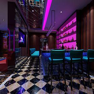 现代KTV酒吧吧台模型